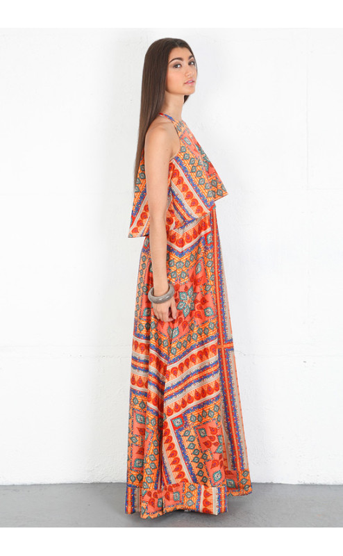 Torn by Ronny Kobo - Celina Ethnic Scarf Maxi Dress