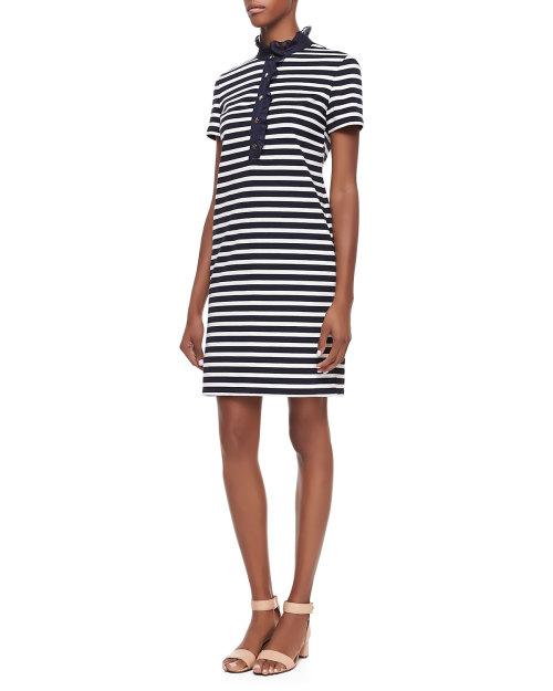 Tory Burch - Lidia Striped Polo Shirtdress