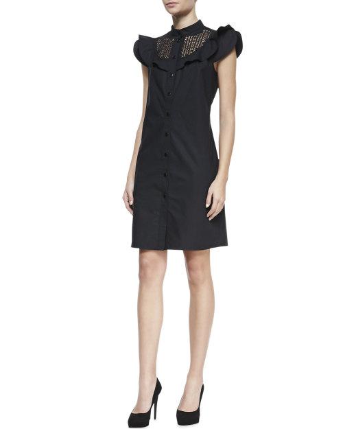 Catherine Malandrino - Lace-Inset Short-Sleeve Shirtdress