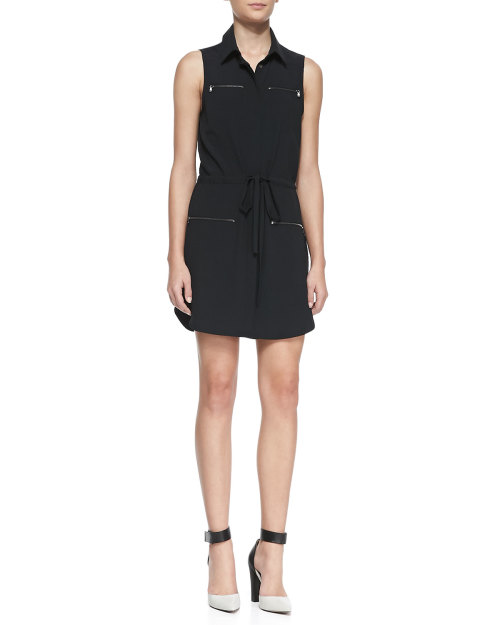 Haute Hippie - Jersey Zip-Pocket Sleeveless Shirtdress
