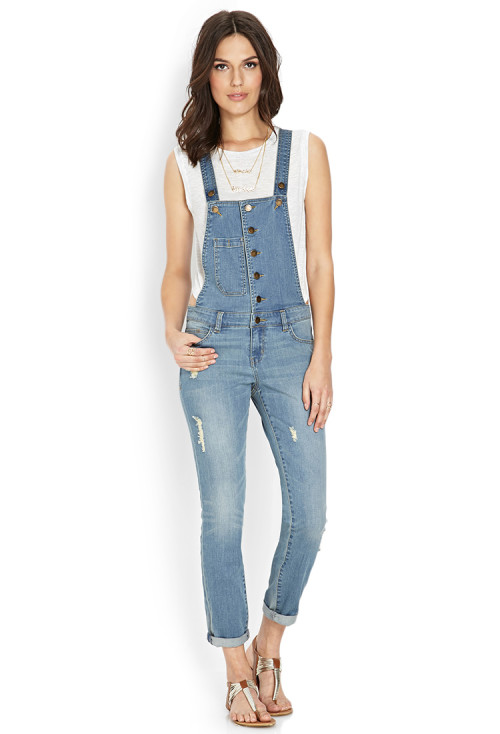 Love 21 - Life In Progress-Distressed Overalls