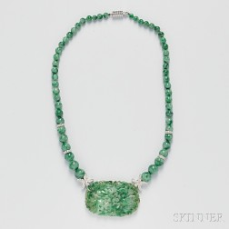 18kt White Gold and Jade Necklace
