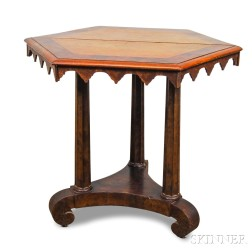 Gothic Revival Mahogany and Satinwood Veneer Center Table
