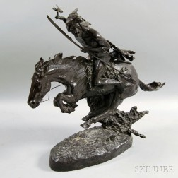 After Frederic Remington, Bronze Galloping Horse and Native American Sculpture