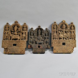 Three Carved Wood Plaques