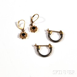 Pair of 14kt Gold Gem-set Earpendants and a Pair of 14kt Gold and Titanium Hoops