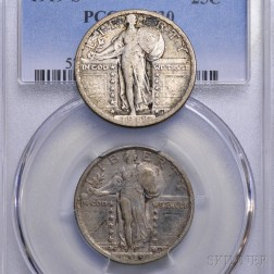 1919-S Standing Liberty Quarter PCGS VF30, and a 1918-S Standing Liberty Quarter