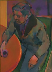 Christopher Schink (American, b. 1936)      French Cafe Series-Fur Collar