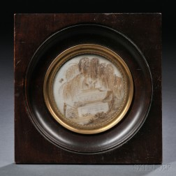 Small Framed Hairwork on Ivory Memorial Picture