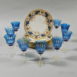 Nine St. Louis Blue Cut-to-clear Wines and a Set of Six Limoges Dinner Plates