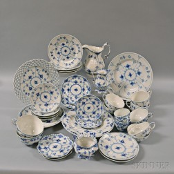 Thirty-eight Pieces of Royal Copenhagen Blue and White Porcelain
