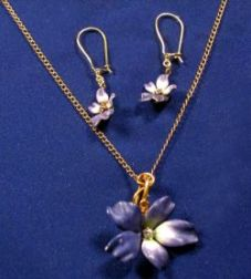 14kt Gold, Enamel, and Diamond Pendant Necklace and Earrings