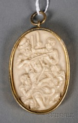 German Carved Ivory Medallion Depicting Christ Being Crowned with Thorns