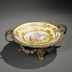 Sevres-style Gilt-bronze-mounted Hand-painted Porcelain Charger