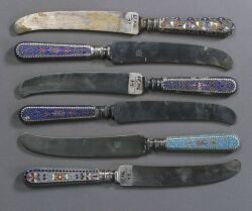 Group of Six Russian Champleve Enamel and Silver Knives
