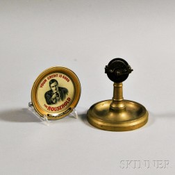"""Brass Engine Order Telegraph Cigar Cutter and a """"Your Credit is Good"""" Lithographed Dish.     Estimate $200-250"""