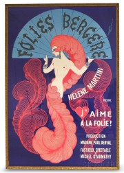 Large Framed Folies Bergeres Poster for J'Aime a la Folie with Helene Martini