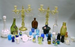 Group of Assorted Colored Pressed Glass Table Items
