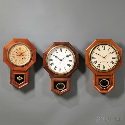 "Three ""Schoolhouse"" Drop Octagon Wall Clocks"