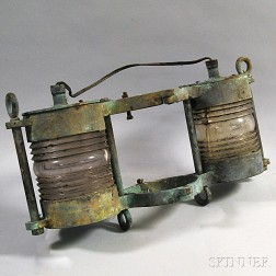 Cast Metal and Glass Ship's Lantern