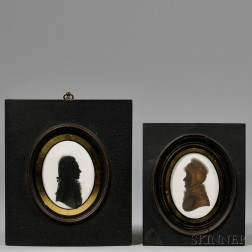 English School, Late 18th/Early 19th Century      Silhouette Portraits of John Francis and Abby Brown Francis