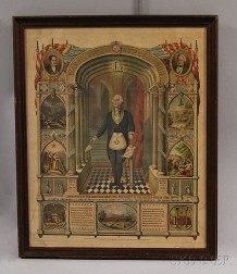 Framed Hand-colored Engraving of Washington as a Freemason
