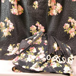 Set of Vintage Rose Cumming Black and Pink Floral-decorated Quilted Chintz Curtains