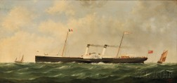 George Mears (British, 1826–1906)      The Steamer-Sidewheeler BOURDEAUX