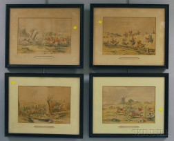 Nine Framed Sporting Prints and a Currier & Ives Engraving Single