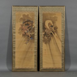 Pair of Paintings Depicting Guardian Deities
