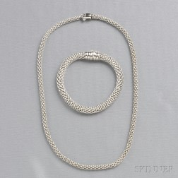18kt White Gold Necklace and Bracelet, Fope