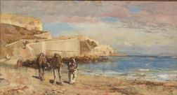 Edwin Lord Weeks (American, 1849-1903)    Trader with Camels on the Shore