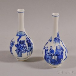 Pair of Blue and White Transferware Vases