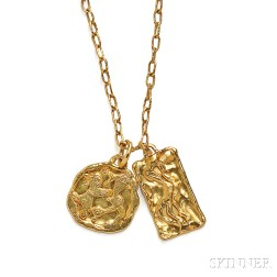 Two 22kt Gold Pendants and Chain, Jean Mahie