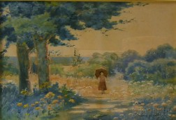 J. Ambrose Pritchard (American, 1858-1905)      Girl with Umbrella on Country Road.