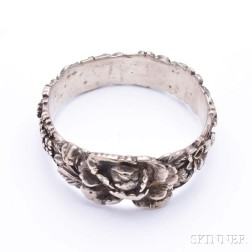 Sterling Silver Floral Decorated Bangle