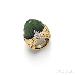 18kt Gold, Nephrite, and Diamond Ring