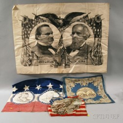 Three Presidential Campaign Textiles and a 1893 World's Fair Souvenir Handkerchief