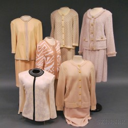 Group of St. John Knit Wool Suits, Sweaters, and Skirts