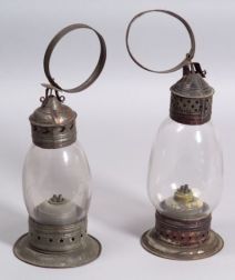 Two Tin and Glass Lanterns