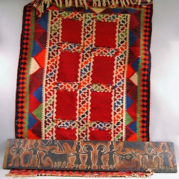 Indian Carved Wood Architectural Panel and a Kilim.