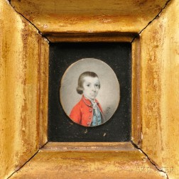 Anglo/American School, 18th Century      Portrait Miniature of a Boy Wearing a Red Jacket and Blue Vest.