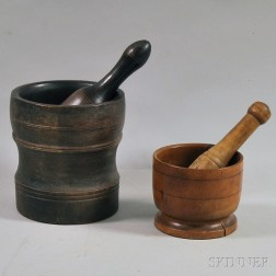 Two Turned Wooden Mortars and Pestles
