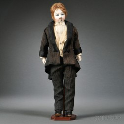 Altered French Bisque Socket Head Boy Doll with Goatee and Moustache