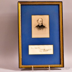 Framed Rear Admiral David G. Farragut Autograph with Rank and Sentiment.     Estimate $200-300