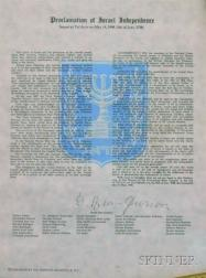 David Ben-Gurion Signed Print of the Proclamation of Israeli Independence