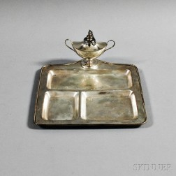 Cartier Sterling Silver Desk Tray and Oil Lamp