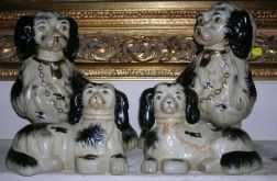 Two Pairs of Modern Staffordshire-style Ceramic Spaniels