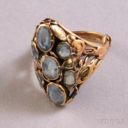 Antique-style 14kt Gold and Pale Blue Gemstone Ring