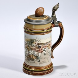 Rugby Stein, Mettlach, Germany, first half 20th century, #2324, stoneware body with glossy and matte glazes, polychrome scene of a rugb